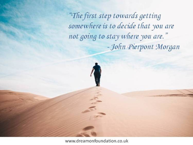 The first step towards getting somewhere is to decide that......